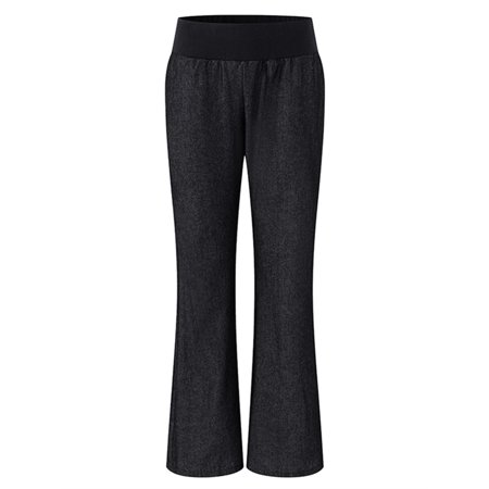 Elastic Waist Woven Knit Pants (Women's Elastic Waist Flared Bell Bottom Faux Denim Pants Trousers)