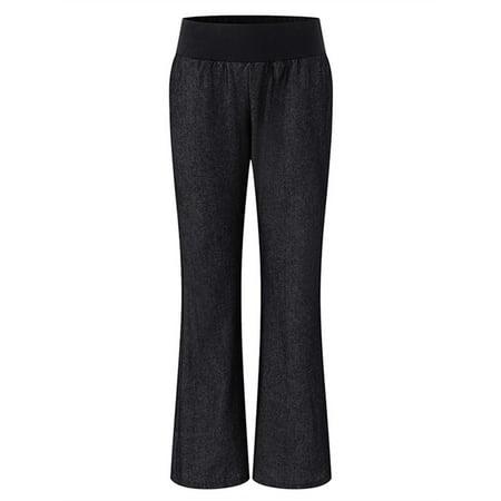 - Women's Elastic Waist Flared Bell Bottom Faux Denim Pants Trousers