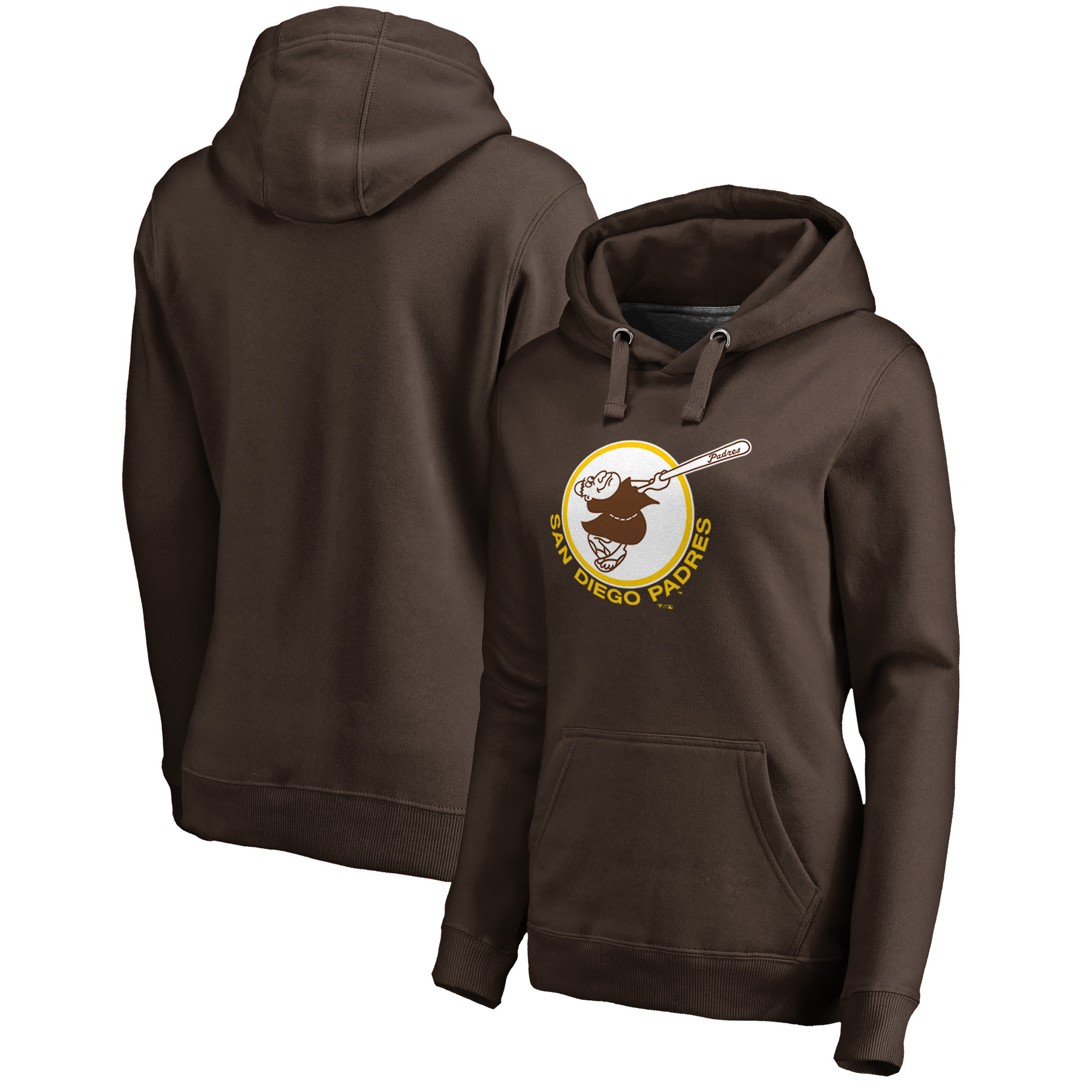 San Diego Padres Fanatics Branded Women's Cooperstown Collection Forbes Pullover Hoodie - Brown