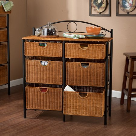 Southern Enterprises Iron And Wicker Storage Chest Brown