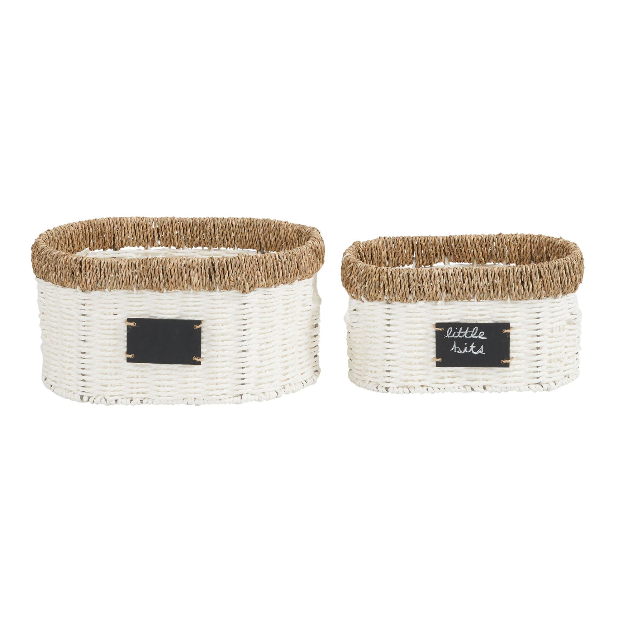 Household Essentials Natural Rim Oval Set Paper Rope And Seagrass 2 Piece Wicker Basket Walmart Com Walmart Com