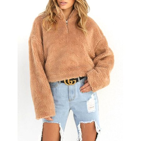 Women Winter Warm Fluffy Sweater Coat Fleece Fur Jacket Stand Neck Zipper Outerwear Pullover Jumper Long Sleeve Tops