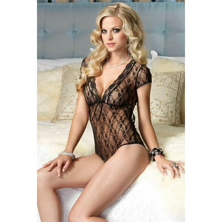 Women's Plus Size Floral Lace Backless Deep V Teddy, Black, One (Backless Teddy)