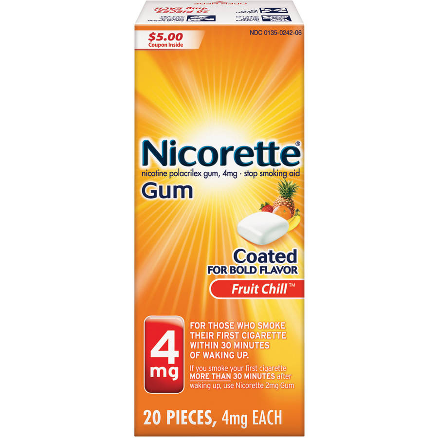 Nicorette Stop Smoking Aid Nicotine Gum, Fruit Chill Flavor, 4mg, 20 Pieces