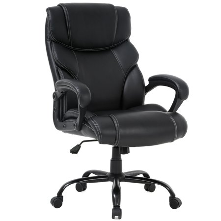 Big and Tall Office Chair 400lbs Wide Seat Ergonomic Desk Chair with Lumbar Support Arms High Back PU Leather Executive Task Computer Chair for Heavy People Women Assemble Executive High Back Chair