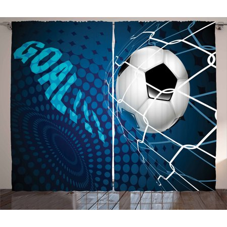Soccer Curtains 2 Panels Set, Goal Football Flying into Net Abstract Dots Pattern Background European Sport, Window Drapes for Living Room Bedroom, 108W X 84L Inches, Blue Black White, by Ambesonne