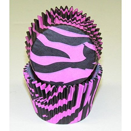 50pc Black And Pink Zebra Design Standard Size Cupcake Baking Cups Liners Wrappers](Pink And Black Cupcake Liners)