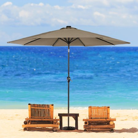 9 Ft Patio Umbrella with Tilt and Crank, Outdoor Market Parasol Sun Shelter Table Umbrella with 8 Sturdy Ribs (Tan) - image 2 of 6