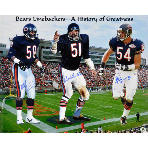 NFL - Dick Butkus, Brian Urlacher & Mike Singletary Chicago Bears - Monsters of the Midway - Autographed 16x20 Photograph