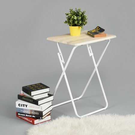 Homy Casa Folding Tv Trays Snack Metal Dinner Tray Small Side Table Wood Printed Beige No Embly Needed