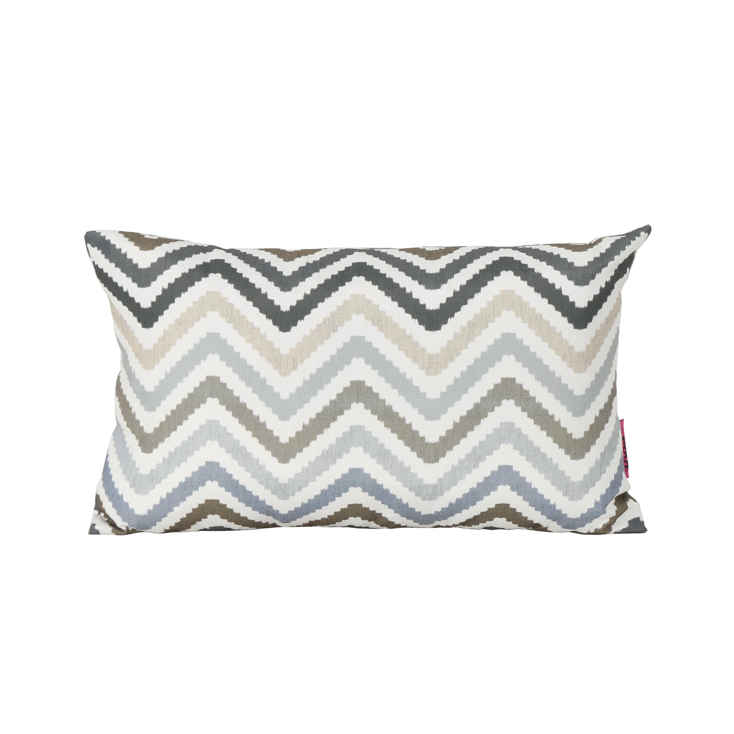 Callon Indoor Water Resistant Rectangular Throw Pillow, Grey, Blue, and Brown Zig Zag... by GDF Studio