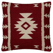 """Rizzy Home Decorative Poly Filled Throw Pillow Aztek 18""""X18"""" Red"""
