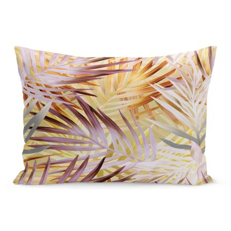 ECCOT Colorful Beige Painting Palm Leaves Artistic Brown Exotic Purple Pillowcase Pillow Cover Cushion Case 20x30 -