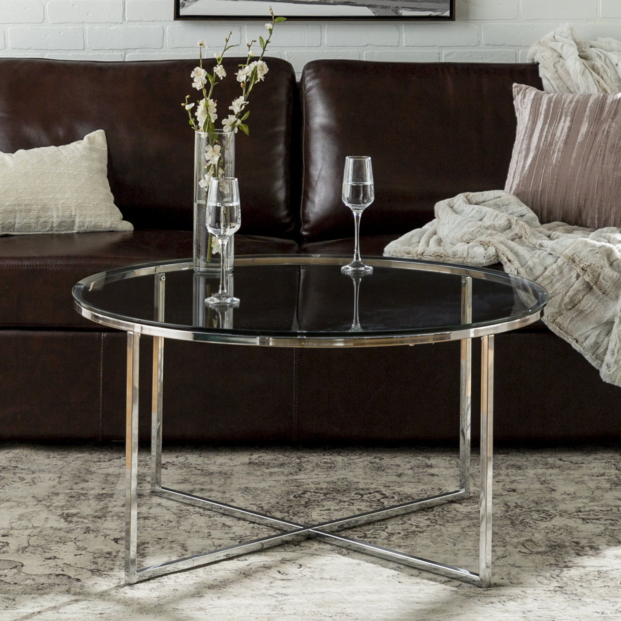 7bb5f630a0e23 Manor Park Mid Century Modern Round Coffee Table - White Marble Gold -  Walmart.com
