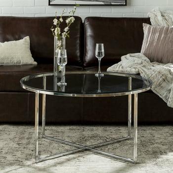 Desert Fields Daisy Glass/Chrome Round Coffee Table