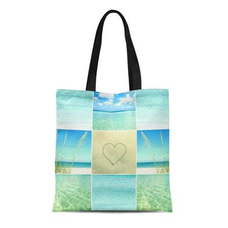 - LADDKE Canvas Tote Bag Mosaic Ocean Beach Collage Reusable Handbag Shoulder Grocery Shopping Bags