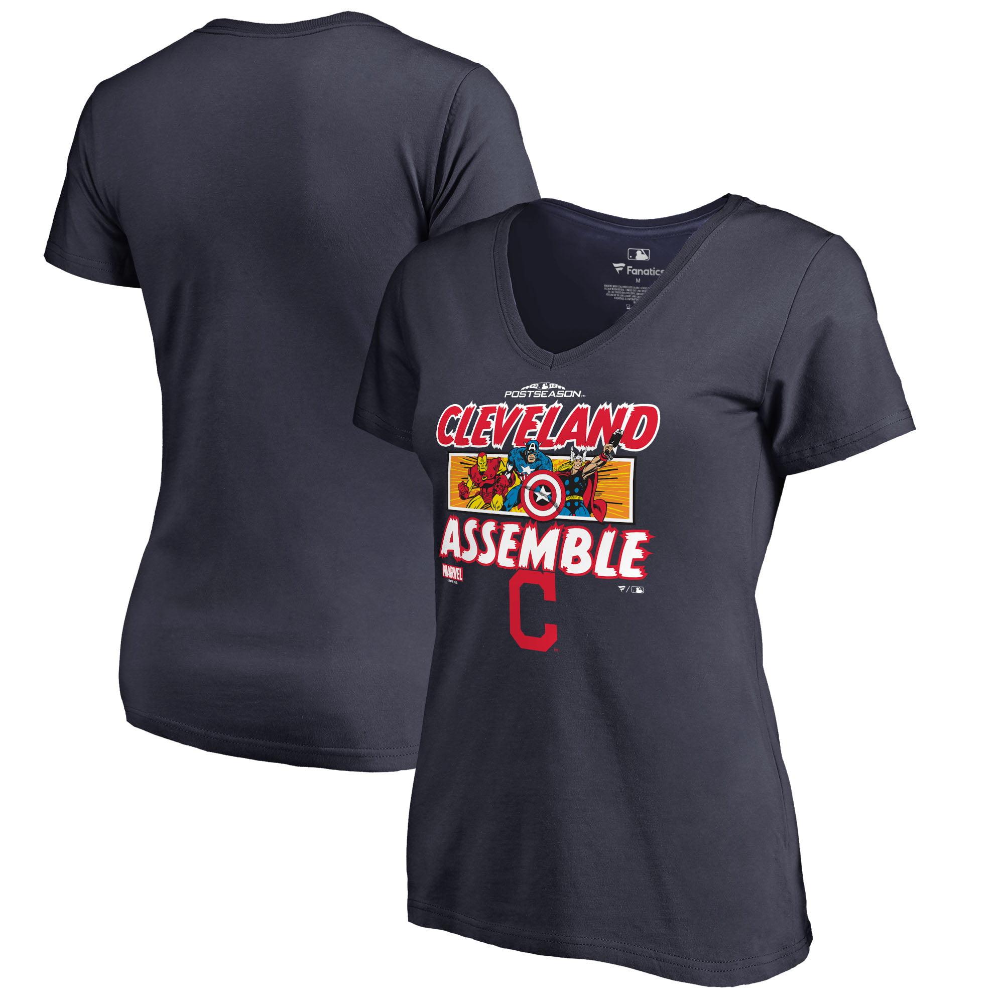 Cleveland Indians Fanatics Branded Women's 2018 Postseason Marvel Avengers Assemble V-Neck T-Shirt - Navy