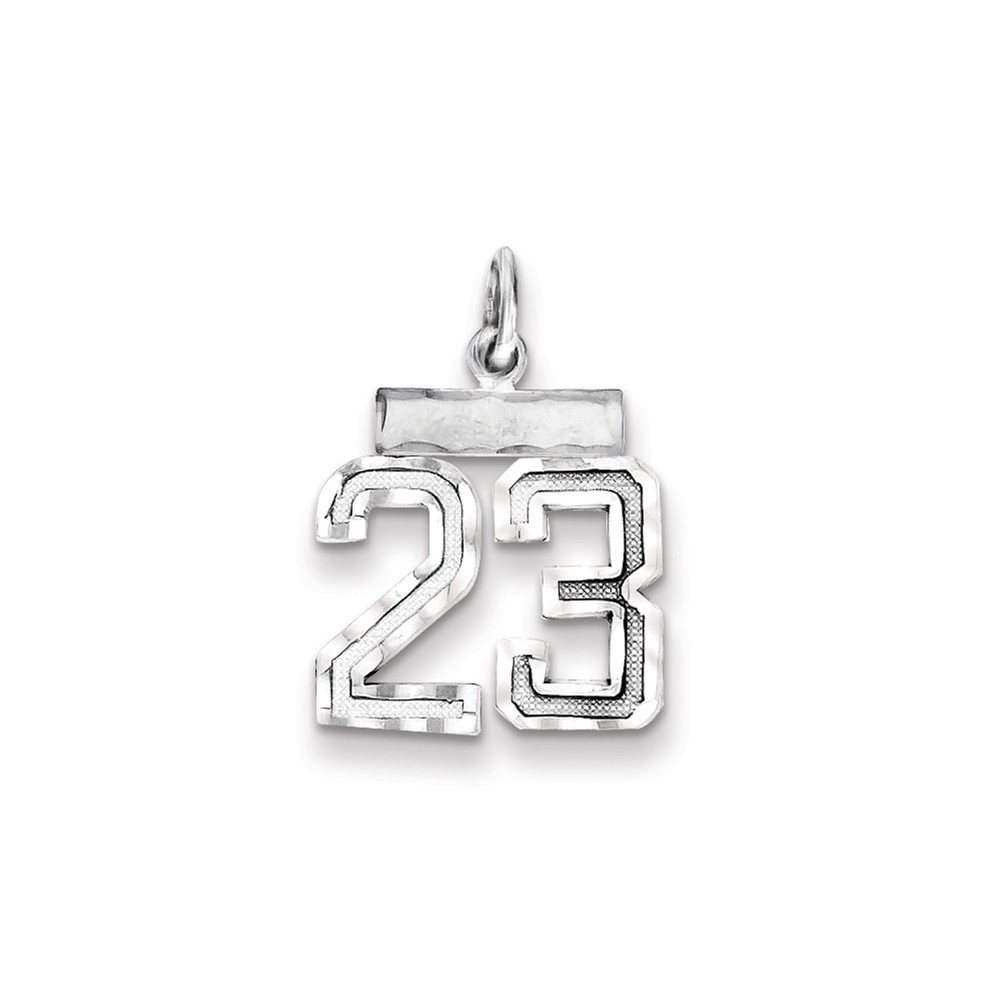 Sterling Silver Polished Small #23 Charm (0.8in long x 0.5in wide)