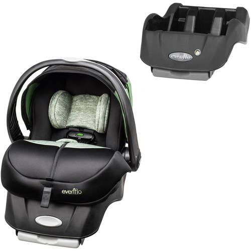 Evenflo Advanced Embrace DLX Infant Car Seat with SensorSafe, Peridot, with BONUS Car Seat Base