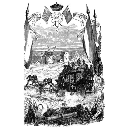 Tourists Carriage C1875 Na Carriage Ride Through The French Countryside For British And American Tourists Organized By Herv Du Lorin Wood Engraving English C1875 Rolled Canvas Art -  (24 x