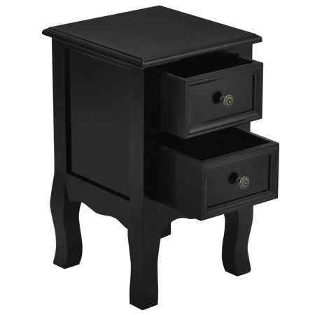 Costway Black Night Stand w/ 2 Storage Drawers Wood End Accent Table - image 3 de 10