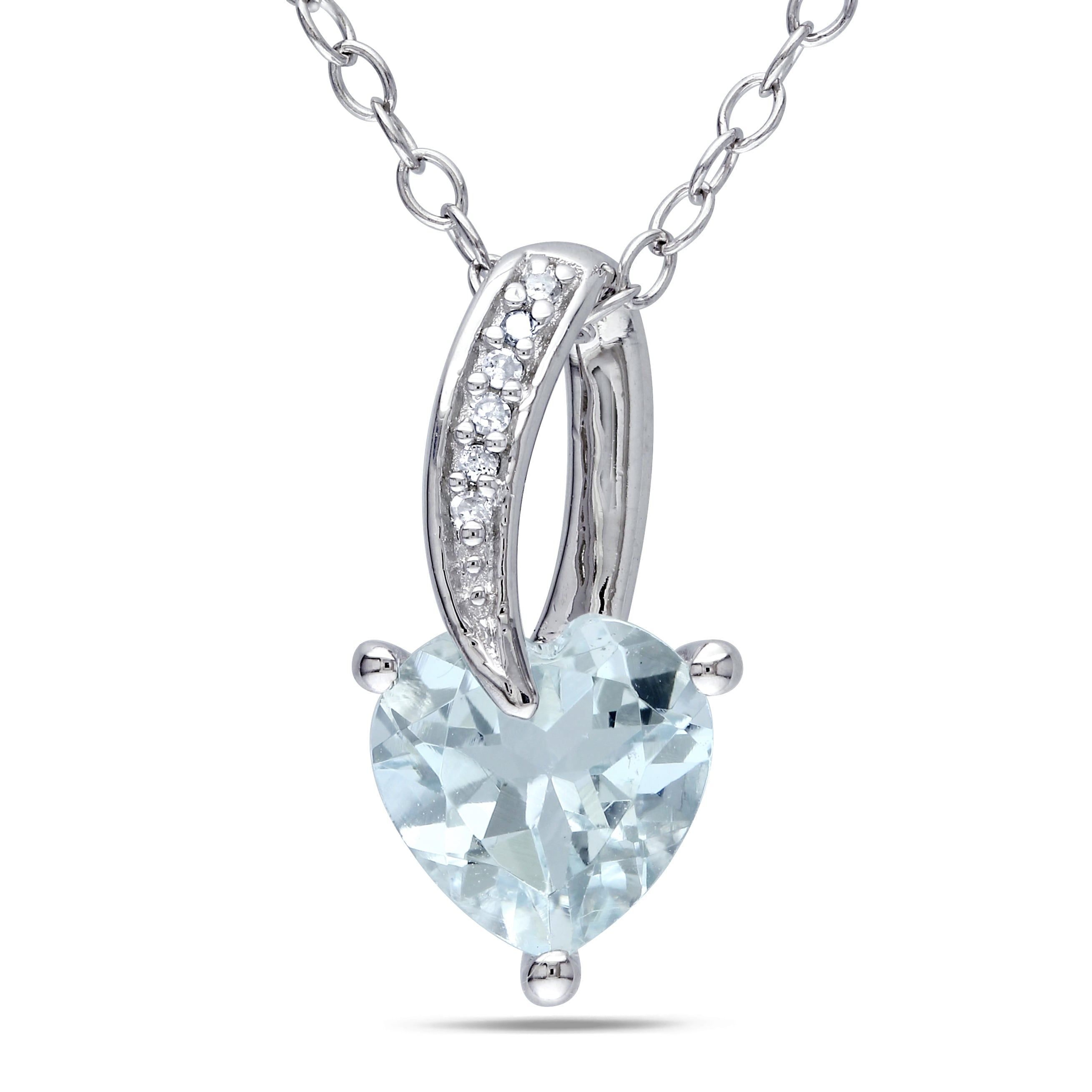 Miadora Sterling Silver Aquamarine and Diamond Accent Heart Necklace by Overstock