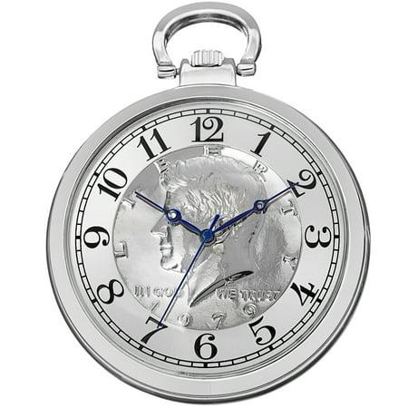 Men's Quartz Kennedy Half Dollar Coin Chain Silver-Tone Watch Quartz Silver Tone Pocket Watch