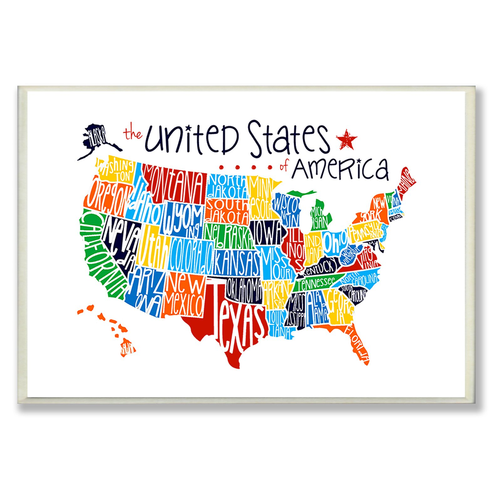 The Stupell Home Decor Collection USA Rainbow Map Wall Plaque