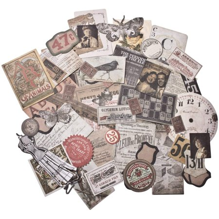 Tim Holtz Idea-ology Thrift Shop Ephemera Pack, 54 Pieces, TH93114, An eclectic collection of printed memorabilia By Tim Holtz Ideaology