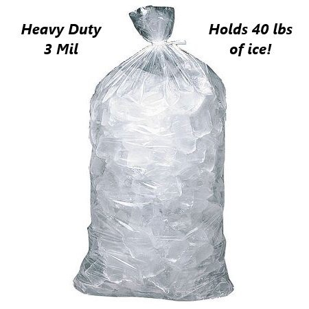 10 Pack 3 MIL 40 LB + Ice Bags LDPE Clear Commercial Baler Wicket Gusset 18 x 33.5 x 5 Lip 2inch 10 Lb Ice Bags