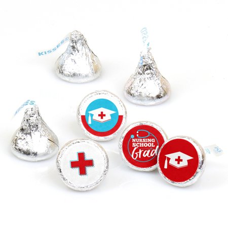 Nurse Graduation - Medical Nursing Graduation Party Round Candy Sticker Favors - Labels Fit Hershey's Kisses - Graduation Favor Ideas