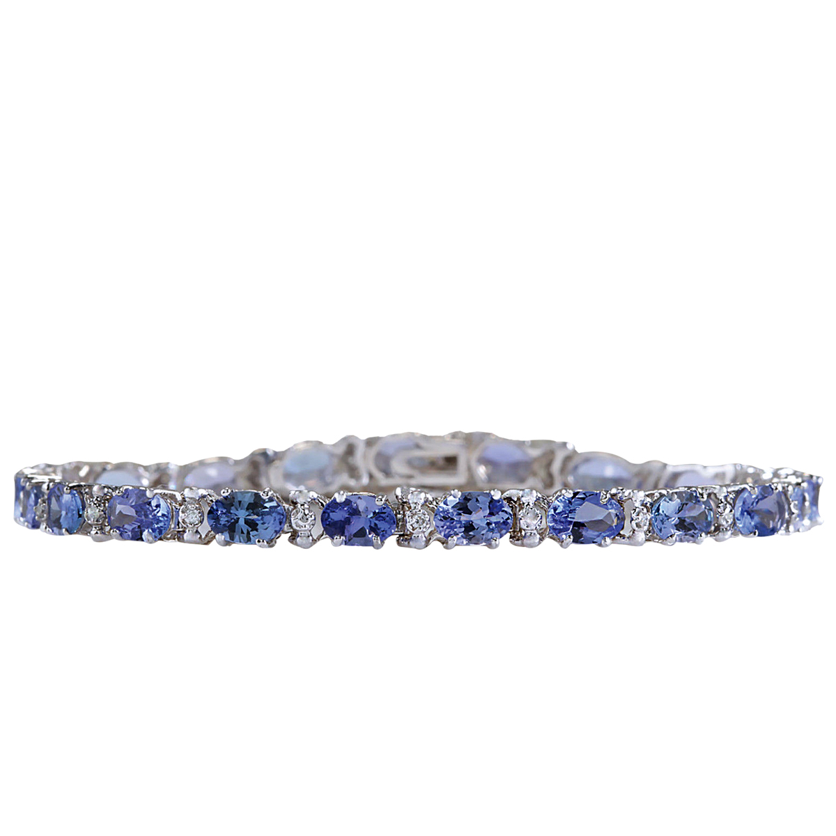 8.74CTW Natural Blue Tanzanite Bracelet In 14K White Gold by