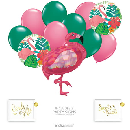 Andaz Press Tropical Jungle Flamingo Party Balloon Bouquet Set, Tropical Aloha Hawaiian Luau Theme Supplies, Inflatable - Luau Themes