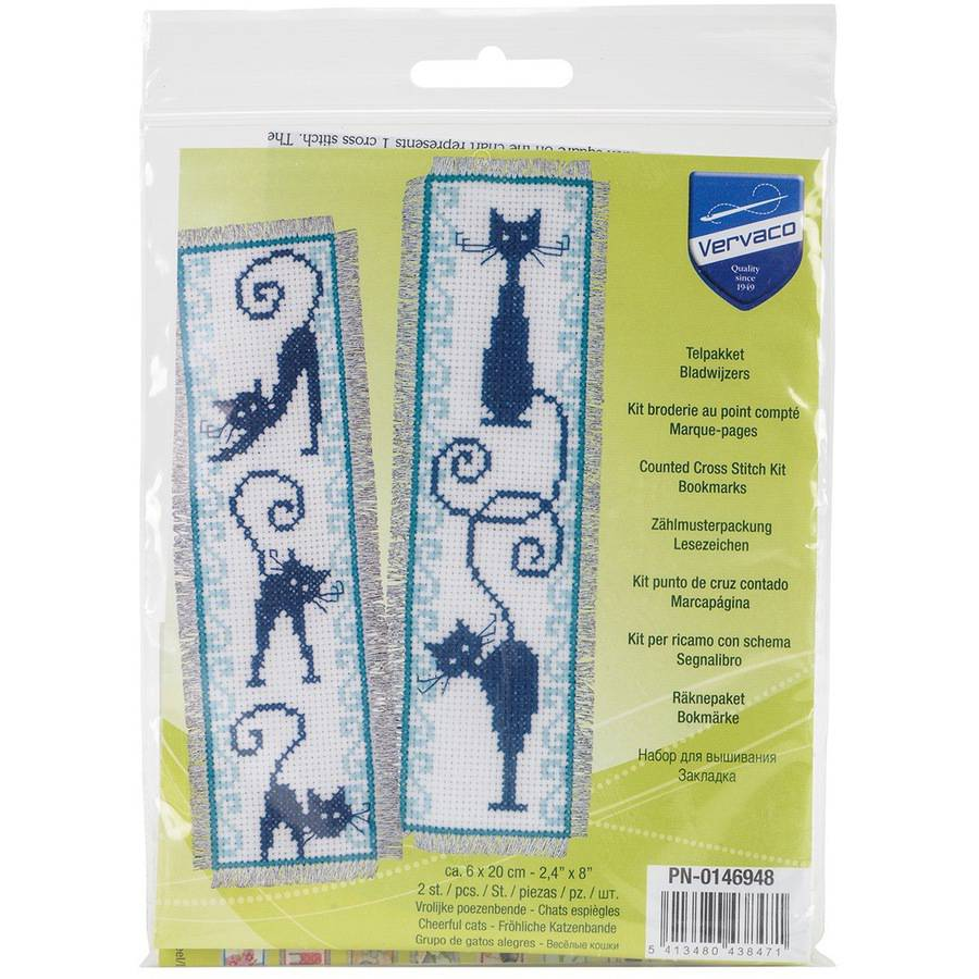 """Cheerful Cats Bookmarks On Aida Counted Cross Stitch Kit, 2.5"""" x 8"""", 14 Count, Set Of 2"""