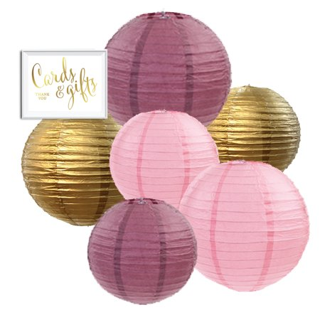 - Andaz Press Burgundy, Blush Pink, Gold Hanging Paper Lanterns Decorative Kit, 6-Pack with Free Gifts Table Party Sign