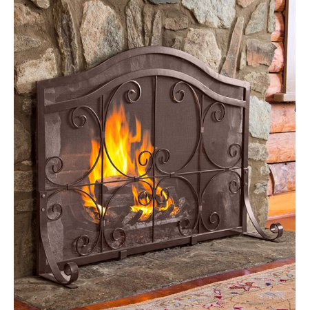 Copper Square Fireplace - Small Crest Flat Guard Fireplace Fire Screen, Copper