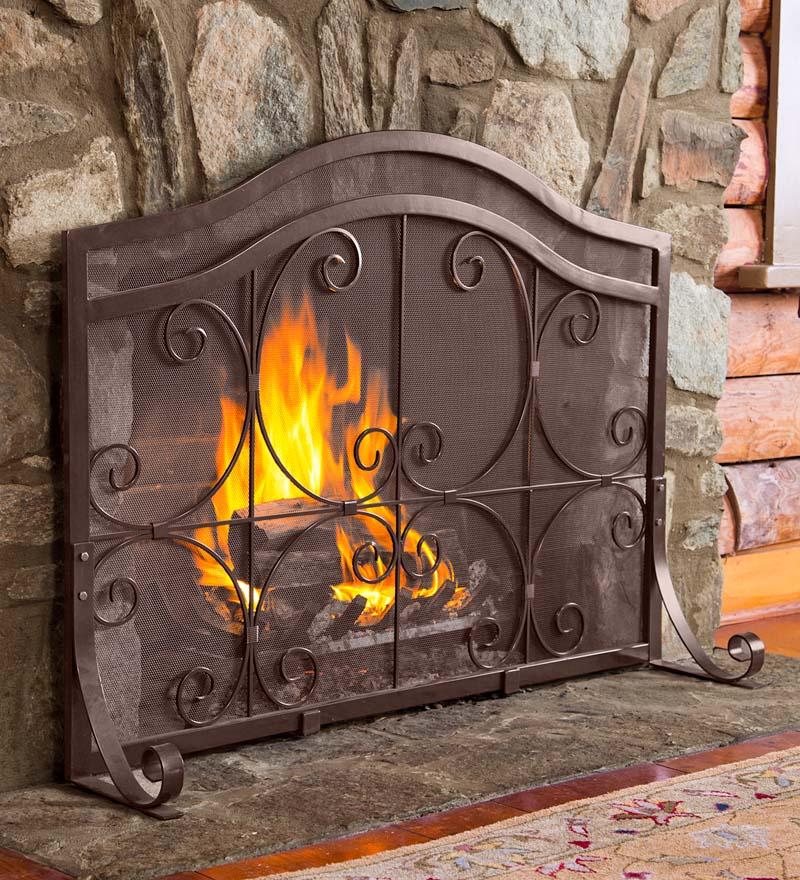 Small Crest Flat Guard Fireplace Screen