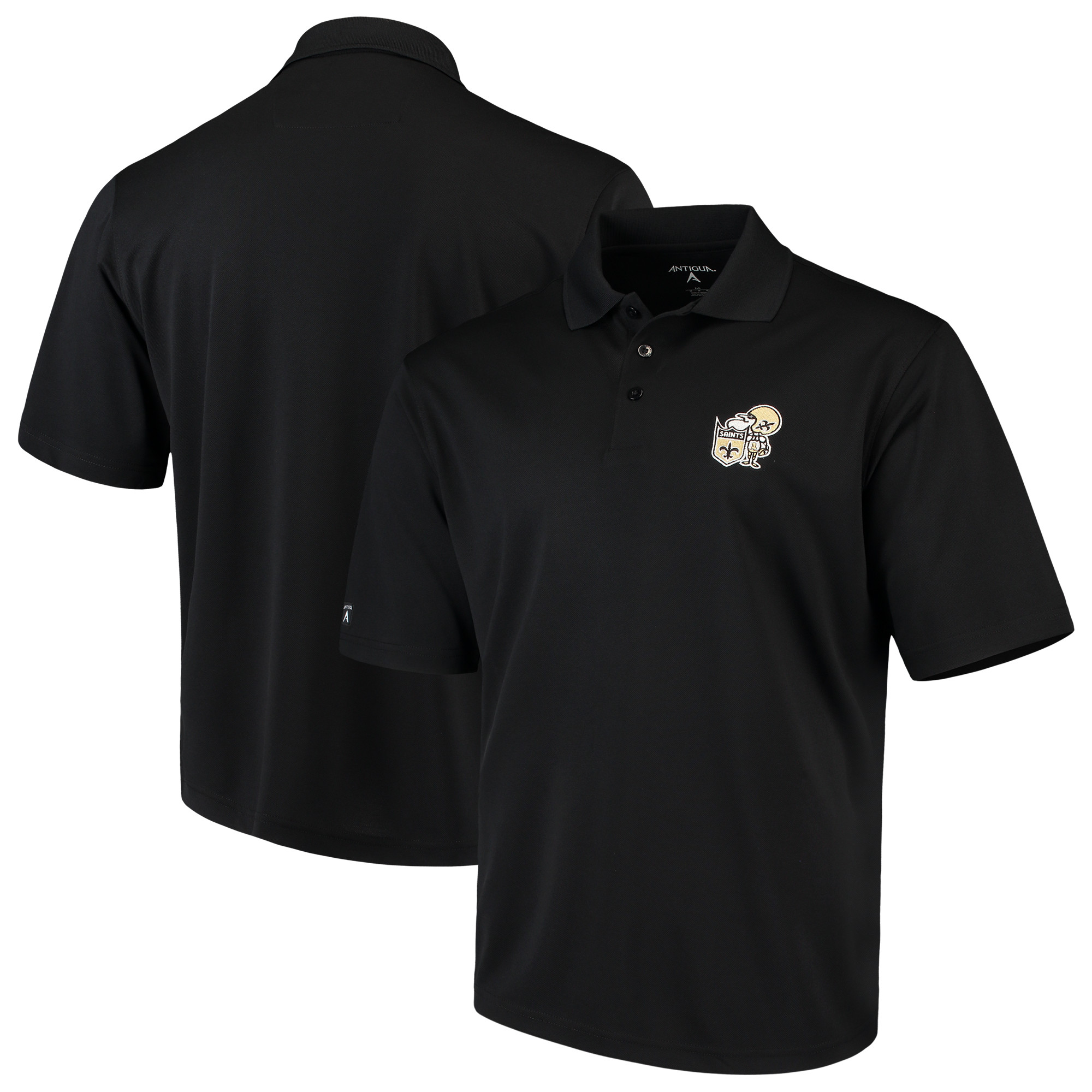 New Orleans Saints Antigua Throwback Pique Polo - Black