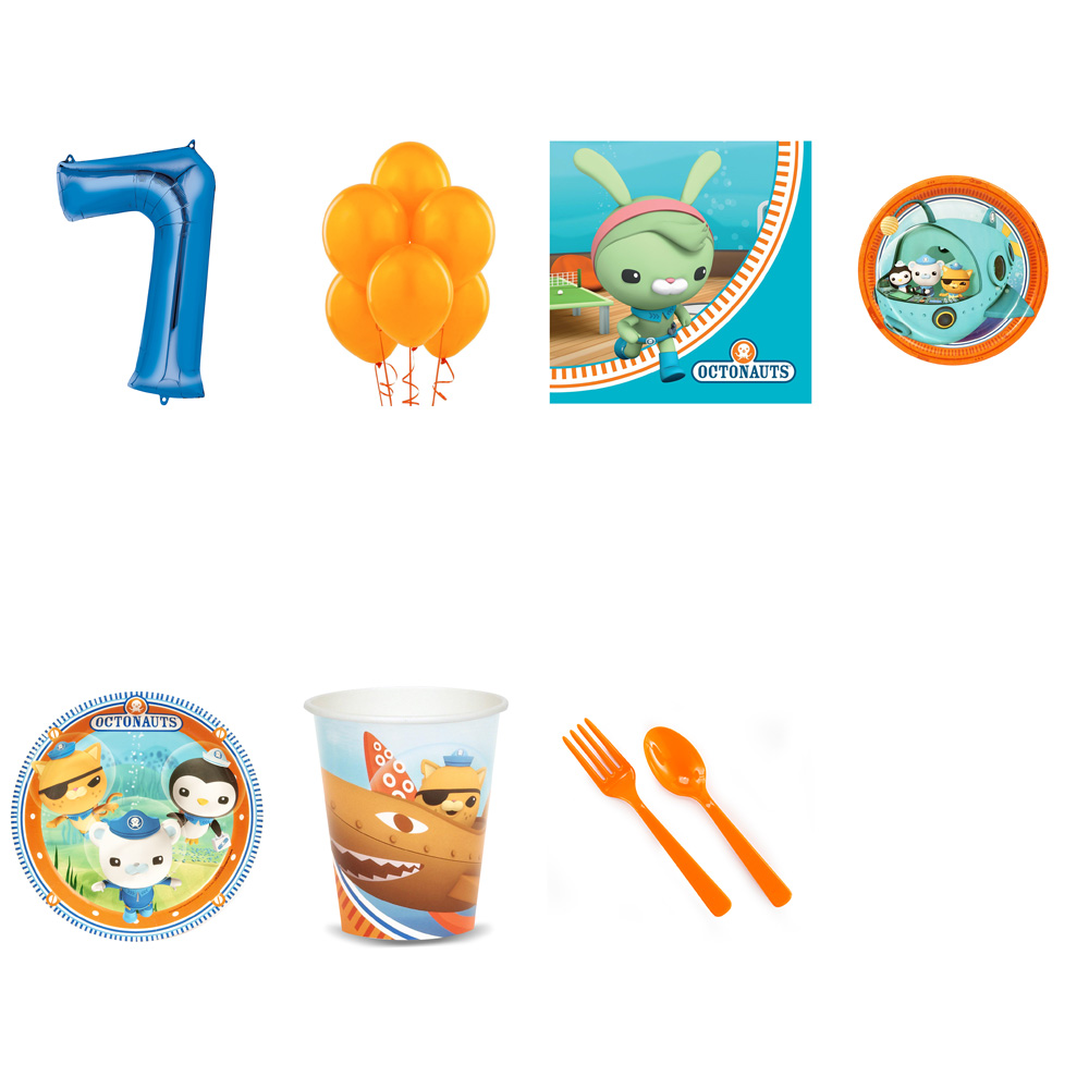 OCTONAUTS PARTY SUPPLIES PARTY PACK FOR 32 WITH BLUE #7 BALLOON