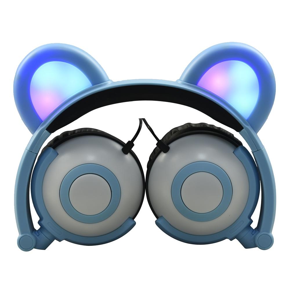 Jamsonic Multicolored LED Light Up Foldable Panda Ear Headphones use for Phones, PC, MP3, MP4, Kids, Childrens, Boys, Girls