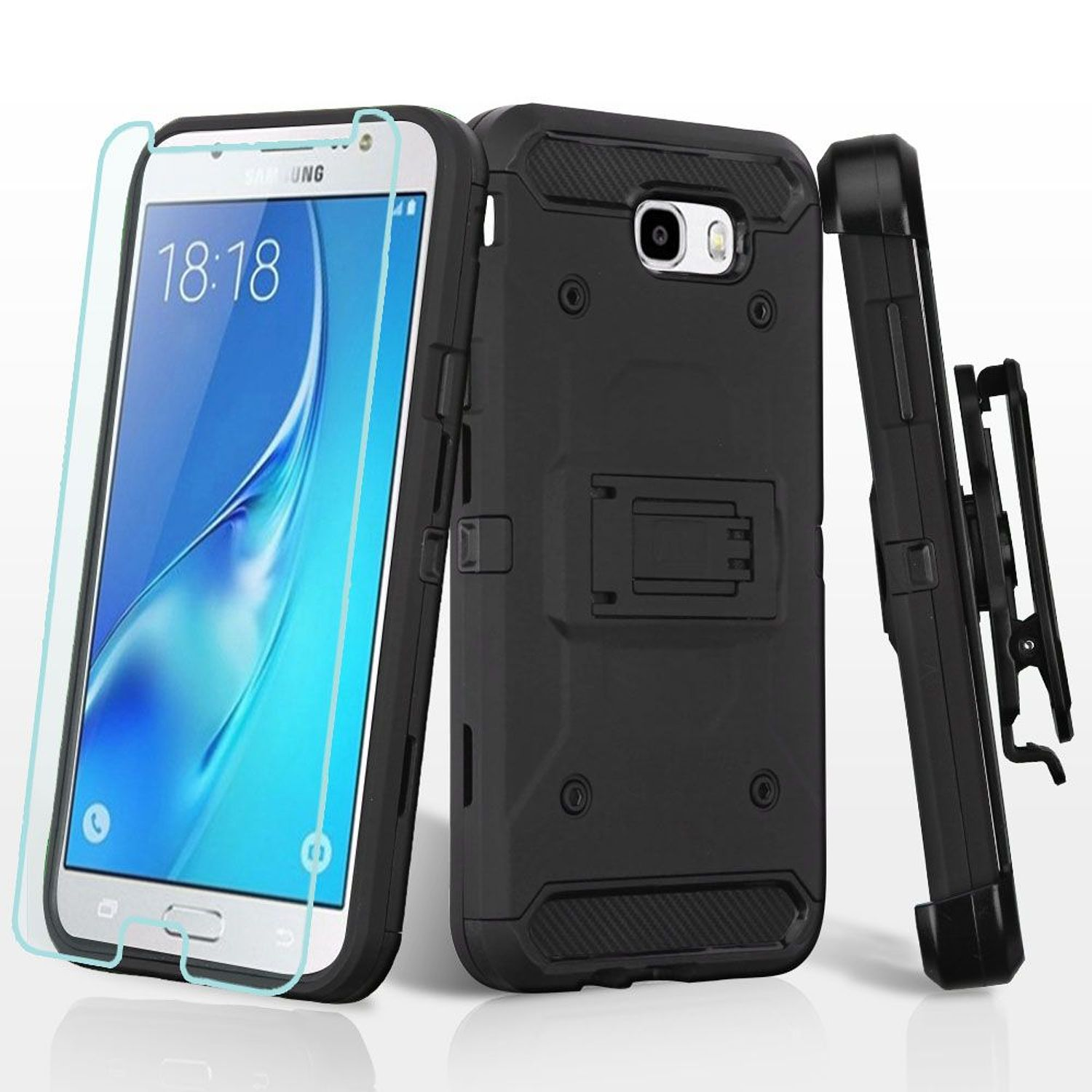 Samsung Galaxy J7 2017 phone case Galaxy J7 Perx case, by Insten 3-in-1 Kinetic Hybrid Holster Case + Tempered Glass... by Insten