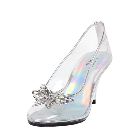 Womens Butterfly High Heels Clear Pumps Silver Trim Costume Shoes 3 Inch Heels (Butterfly Pumps)