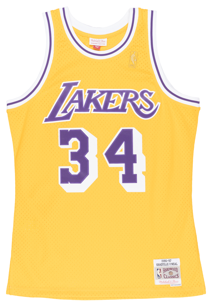 eafed4e75 ... purchase mitchell and ness shaquille oneal los angeles lakers swingman  jersey mens gold 4ed0c 760f6