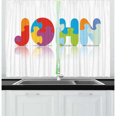 John Curtains 2 Panels Set, Ancestral Children Name with Medieval Origins Nursery Themed Puzzle Preschool Design, Window Drapes for Living Room Bedroom, 55W X 39L Inches, Multicolor, by Ambesonne](Medieval Times Theme)