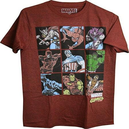 Marvel Superheroes 9 Character Grid Thor, Hulk, Iron Man, Spider-man Adult Men's T-Shirt (Large)