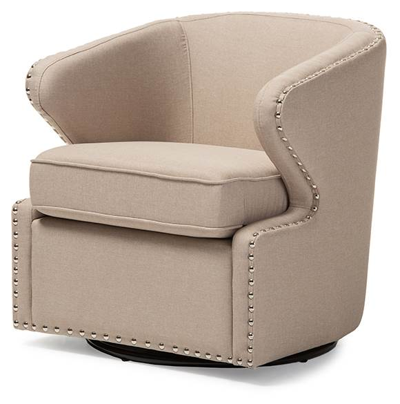 Baxton Studio Finley Mid-Century Modern Beige Fabric Upholstered Swivel Armchair by Wholesale Interiors