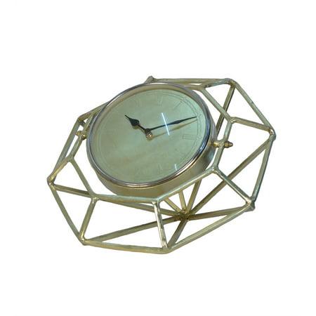 Metal Table Clock Diamond Design, Gold