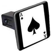 """Ace Of Spades Playing Card 1.25"""" Tow Trailer Hitch Cover Plug Insert"""