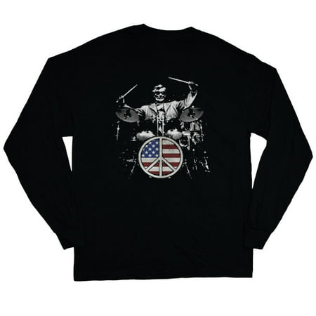 Decked-Out-Duds - Abe Lincoln American Flag Drum Kit Decal Long Sleeve Tee Drummer Gifts T-shirt - Walmart.com