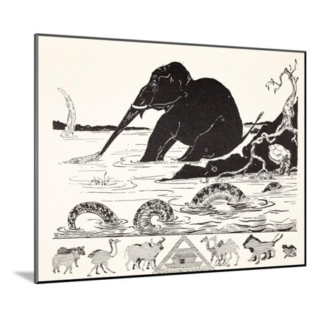 - The Elephant's Child Having His Nose Pulled by the Crocodile Wood Mounted Print Wall Art By Rudyard Kipling